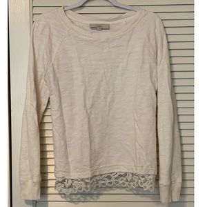 LOFT cream long sleeved shirt